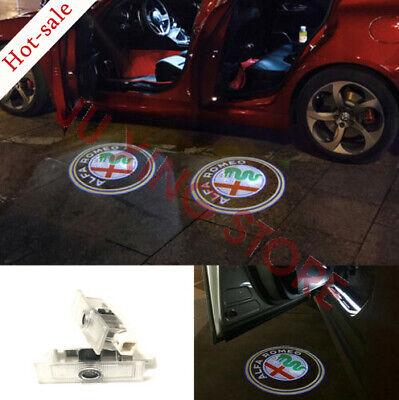New 2x Logo LED Door Light Laser Projector For Alfa Romeo Stelvio Mito Giulietta