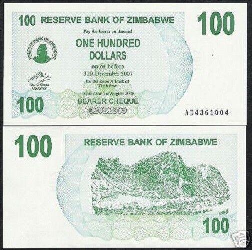 Lot 10 PCS 2006 Zimbabwe 100 Dollars UNC P-42