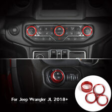 Headlight Button Red Air Conditioner Switch Ring Cover For 2018 JL Jeep Wrangler