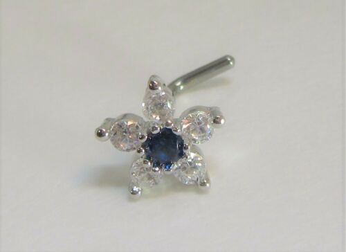 Surgical Steel Sapphire Blue Crystals Flower Bent L Shape Stud Pin Post 20 gauge