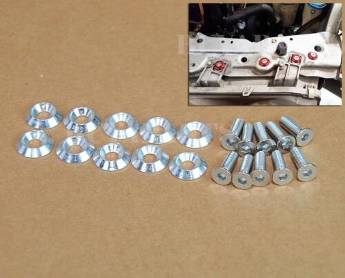 10 pcs Silver Aluminum Fender Washers Engine Bay Dress Up Kit M6 20mm Bolt//Screw