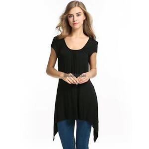 Meaneor-Womens-Short-Sleeve-Scoop-Neck-Handkerchief-Hem-Tunic-Top-BRCE