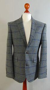 VIYELLA-Mens-Grey-Overcheck-Wool-Vintage-Tweed-Suit-Jacket-Blazer-NEW-40R