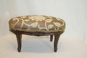 French-Louis-XV-Carved-Oval-Foot-Stool-Foot-Rest-Circa-19th-New-Upholstery
