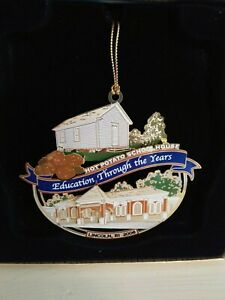 """X-MAS Etched Ornament """"The Hot Potato Schoolhouse"""" Education Throught the Years"""