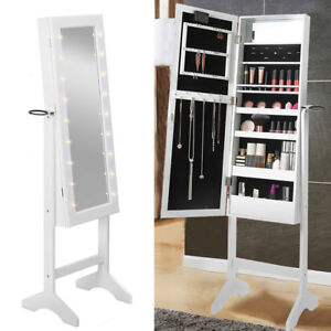 Details About Freestanding Hollywood Led Jewellery Cabinet Mirror Full Size 32x35x145cm White