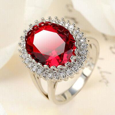 Garnet Classical Design Red Morganite Topaz Gems Women Jewelry Silver Rings 6-9