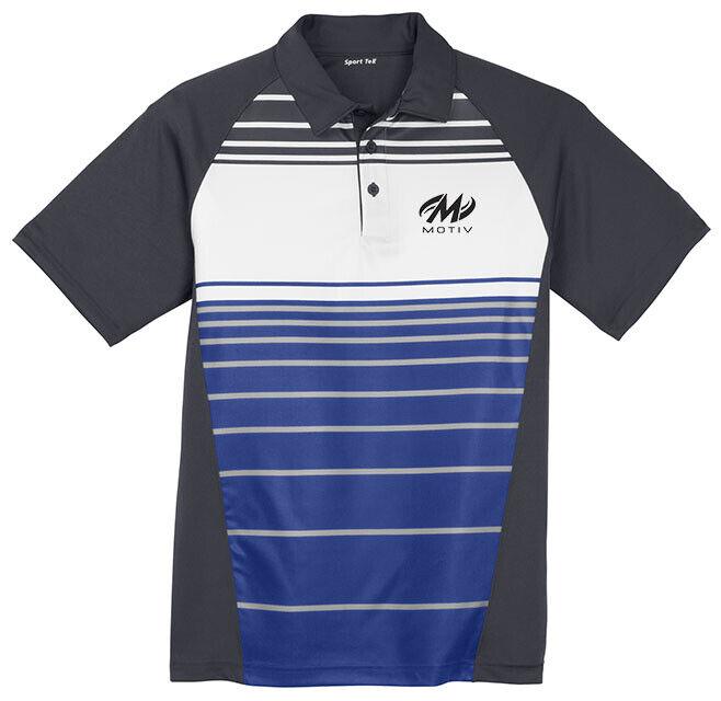 Motiv Men's Ripcord Performance Polo Bowling Shirt Sublimated Royal bluee Grey