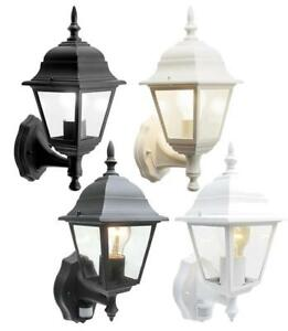 Details About 4 Sided Outdoor Wall Lantern Black White Motion Sensor Detector Pir