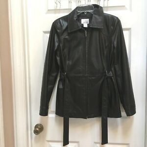 East-5th-Black-Leather-Jacket-womens-size-Small-Zip-up-fully-Lined
