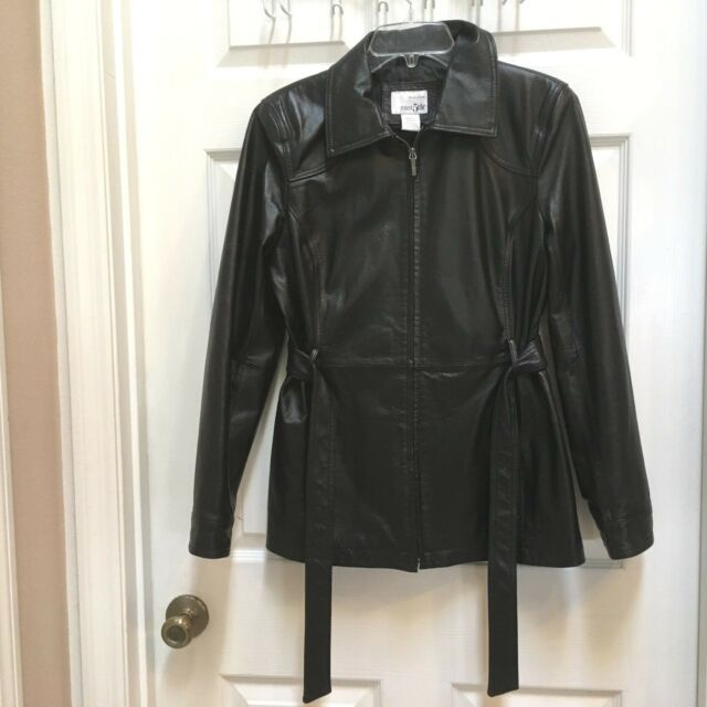 East 5th Black Leather Jacket womens size Small Zip up fully Lined