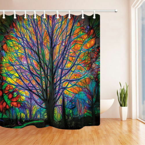 Spring Watercolor Life Tree Fabric Bathroom Shower Curtain Extra Long 72*84 Inch