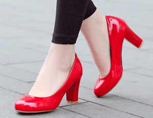 Image Is Loading Women Plus Size Party High Heel Pumps Red