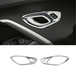 Silver ABS Interior Door Stereo Speaker Ring Cover Trim for Chevrolet Camaro 17+