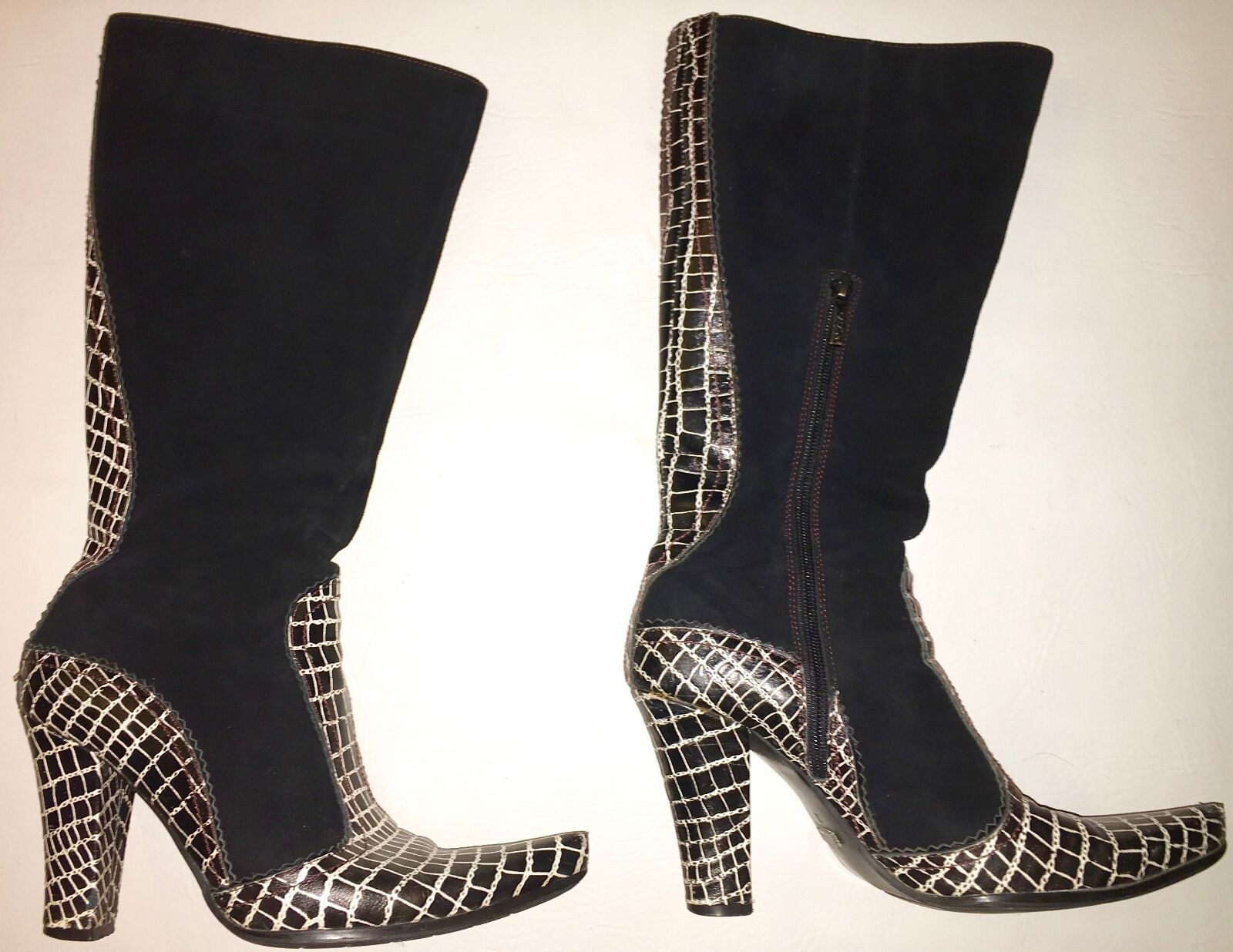 Para mujer Talla 8 8 8 (38), blancoo Y Negro botas De Cuero, Suade Patten por Casadei  Los mejores precios y los estilos más frescos.