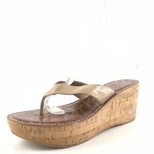 3e963109c9d3c8 Image is loading Sam-Edelman-Romy-Beige-Leather-Wedge-Sandals-Womens-
