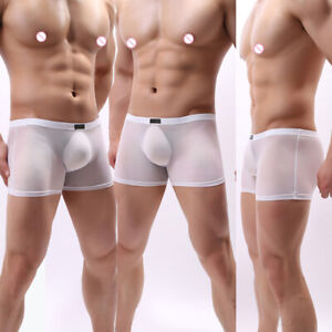 Briefs Ice Silk Boxers See Through Shorts Traceless Underwear Breathable Panties