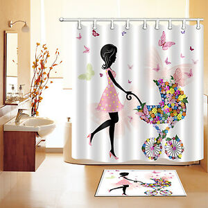 Image Is Loading Mom Butterfly Shower Curtain Set Waterproof Bathroom Curtains