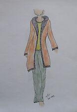 ORIGINAL MODEZEICHNUNG Modeskizze Damen fashion sketches 20-163