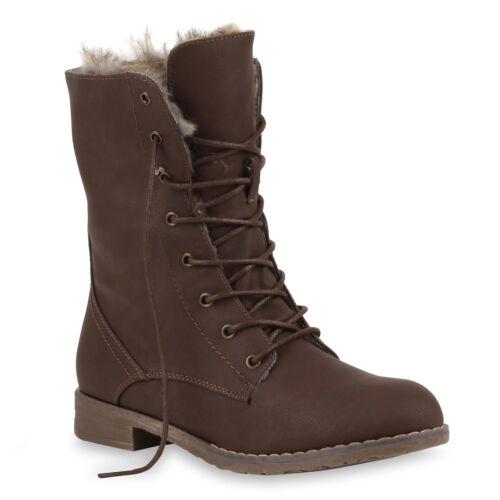 Warm Gefütterte Damen Stiefeletten Worker Boots Stiefel 73335 Top