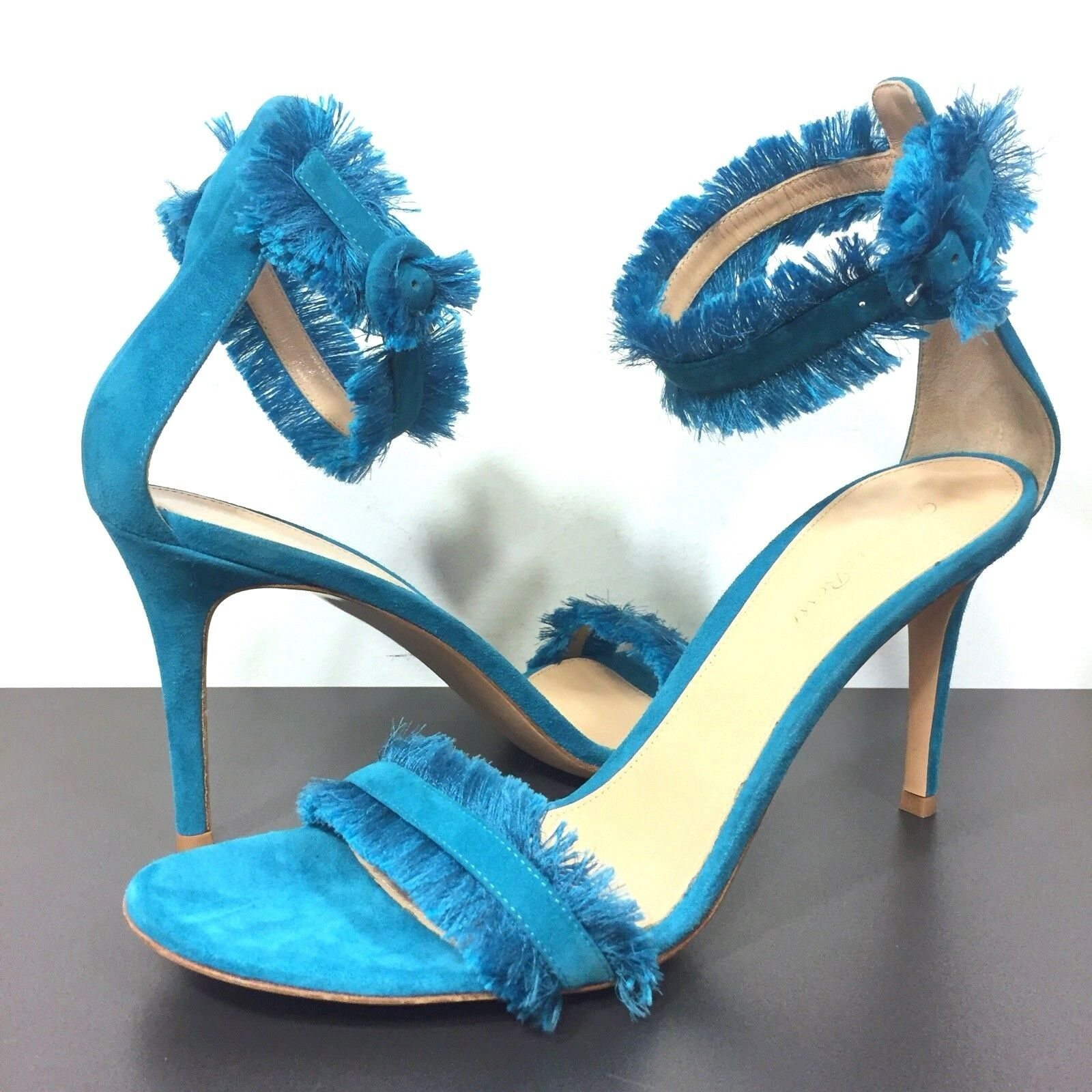 GIANVITO ROSSI Portofino Suede Fringed Ankle Buckle Sandals Blue 41 (MSRP $795)