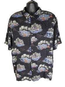 Batik-Bay-Mens-2XB-Black-Mutlicolor-100-Rayon-Tropical-Hawaiian-Aloha-Shirt