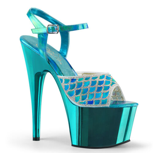 "7/"" Blue Platform Heels Mermaid Tail Scales Stripper Shoes Pleaser Adore-709MMRS"