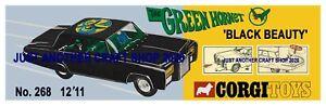 Corgi-Toys-268-The-Green-Hornet-Streamer-CARTEL-ANUNCIO-FOLLETO-signo-de-tienda-1968