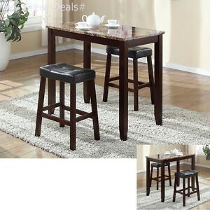 Image Is Loading Pub Table Set 3 Piece Bar Stools Dining