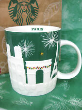 STARBUCKS Paris RELIEF MUG CHRISTMAS HOLIDAY GREEN EIFFEL TOWER COFFEE Cup