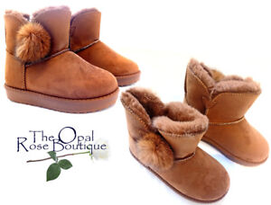 f80c37fcb Girls Children's Kid's Tan Faux Fur Lined Suede Flat Boots Size 10 ...