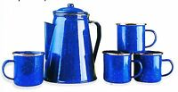 Outdoor Camping Coffee Pot Percolator Maker Brewer 4 Mugs Enamel Set