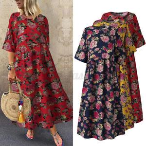 Oversize-Femme-Decontracte-Manche-3-4-Imprime-Floral-Pur-Coton-O-Cou-Robe-Dresse
