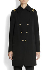 Givenchy Black Double Breasted Wool Coat With Gold Bars Fr40uk12