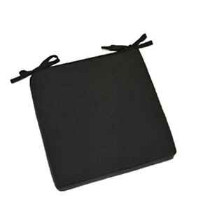Universal Seat Cushion With Ties For In Outdoor Chair Solid Black