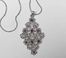 NEU 40cm+5,5cm HALSKETTE mit SWAROVSKI STEINEN light rose/rosa/pink COLLIER