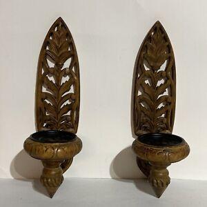"Vintage Carved Wood Wall Sconce Candle Holder Set BOHO TIKI MCM Asian Goth 14"""