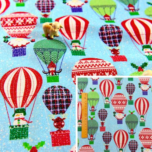 BLUE Half Meter Cotton Fabric Craft Sewing Glitter Christmas Hot Air Balloon Kid