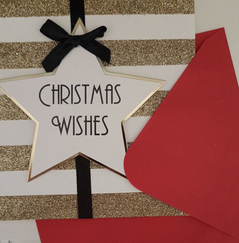 Hand finished black bow 3-D effect Christmas card