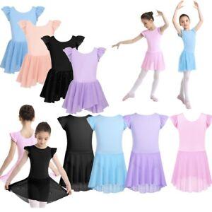 Girl-Kid-Ruffle-Sleeve-Ballet-Dance-Dress-Chiffon-Tutu-Skirted-Leotard-Dancewear