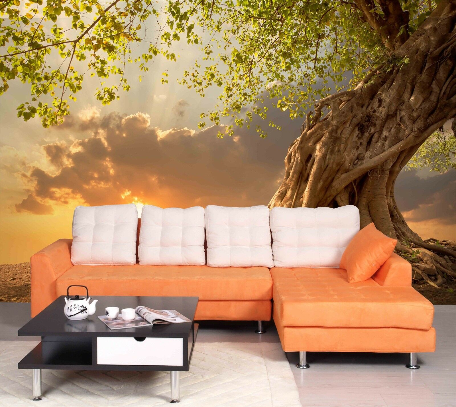3D Sunset Tree 1033 WallPaper Murals Wall Print Decal Wall Deco AJ WALLPAPER