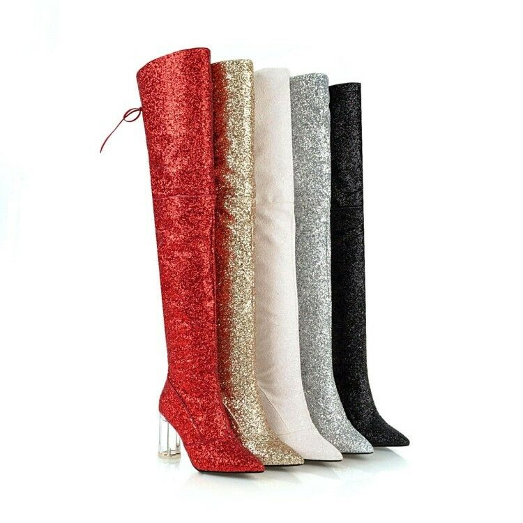 femmes bottes Transparent High Chunky Pointed Toe Zip Sequins chaussures Zsell