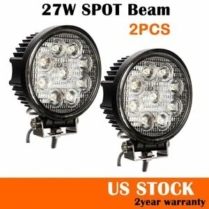 2X-27W-5Inch-Spot-Round-LED-Work-Light-Offroad-Fog-Driving-DRL-SUV-ATV-Truck-4WD