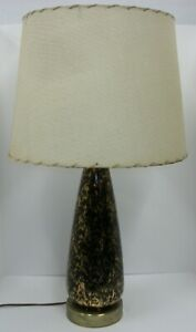 True-Vtg-MCM-Atomic-Eames-Era-Table-Lamp-Black-amp-Gold-with-Fiberglass-Shade