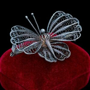 Antique-Vintage-Nouveau-Sterling-Silver-Filigree-Figural-Butterfly-Pin-Brooch