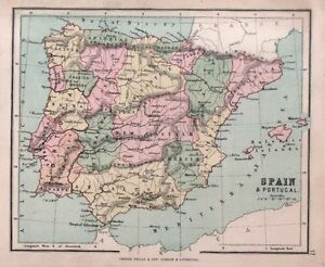 Cartina Spagna Antica.Carta Geografica Antica Spagna Spain Portogallo Portugal Hughes 1878 Old Map Ebay