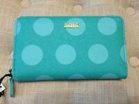 Kate Landry Blue Polka Dot Zip Around Wallet, Cute