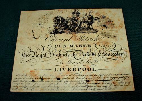 Edward Patrick Gunmaker Gun Maker papier Gun Case Label Accessoires