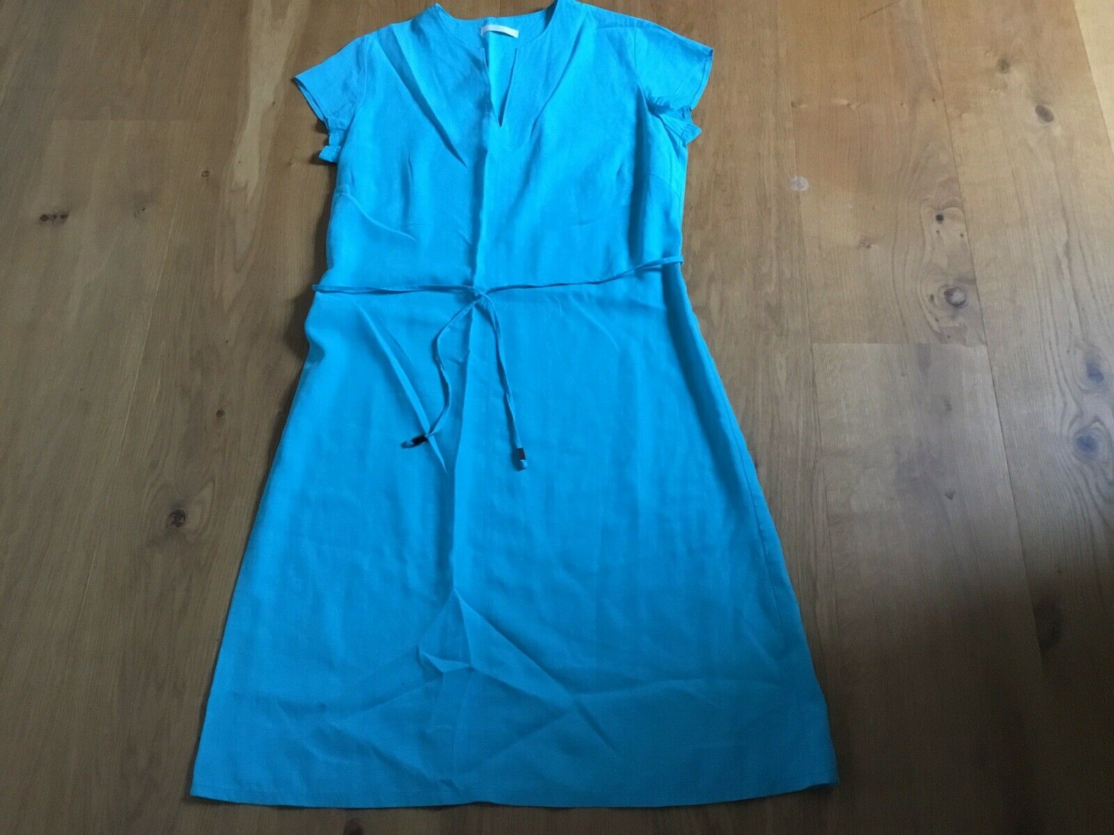 marks and spencer Turqouise Dress Size 12 Linen Mix