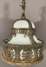 1920's Antique ART DECO THEATER SALVAGE Old BRONZE Milk GLASS Hanging CHANDELIER